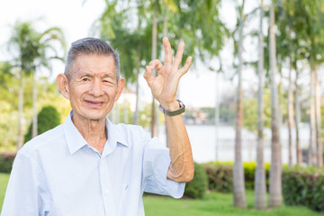 Asian senior man indicating OK sign in the park