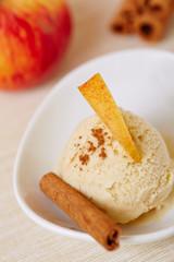 Apfel-Zimt-Eis mit Apfel und Zimtstange