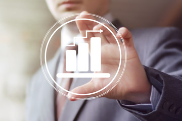 Man with chart web icon business diagram icon statistic
