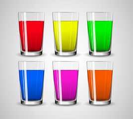 Set of realistic colourful water / cocktail / juice glasses