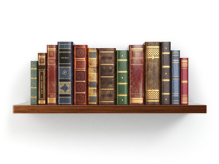 Vintage old books on shelf isolated on white.