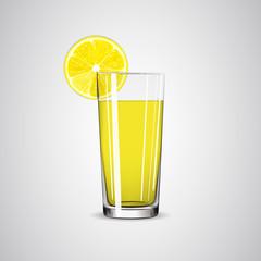 Glass with lemonade / lemon juice and lemon slice.