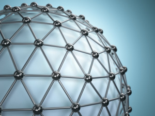 Lattice sphere. Concept of molecule. Abstract background.