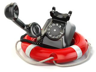 Help or support service concept. Telephone and life preserver is