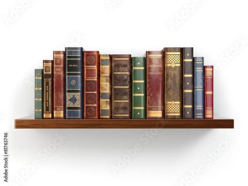 Vintage old books on shelf isolated on white. - 81763746