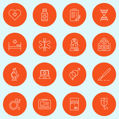 Set of Thin Line Medicine and Healthy Icons. Vector Illustration
