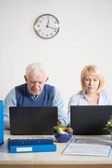 Elderly people working on laptops