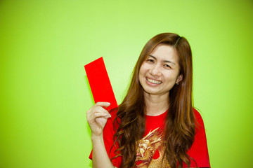 Chinese woman holding red envelope