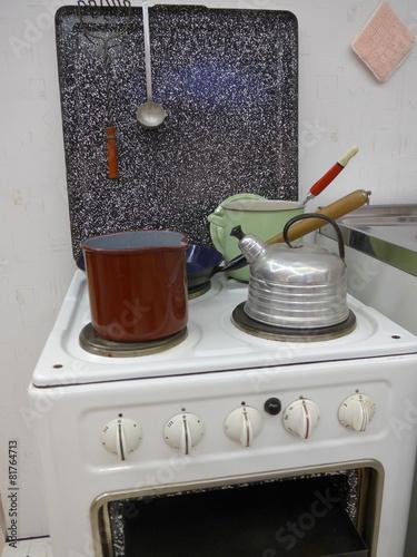 Leinwanddruck Bild Küchenherd im Stil der 50er Jahre - Bild -