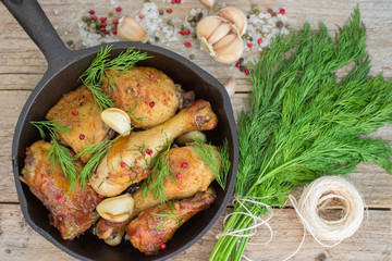 Roast chicken with garlic and dill