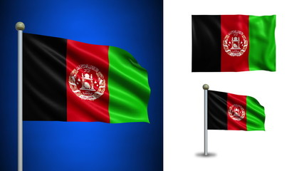 Afghanistan flag - with Alpha channel, seamless loop!