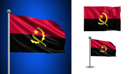 Angola flag - with Alpha channel, seamless loop!