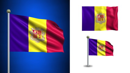 Andorra flag - with Alpha channel, seamless loop!