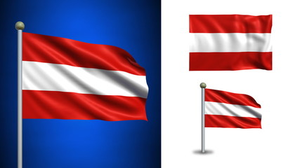 Austria flag - with Alpha channel, seamless loop!