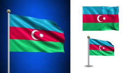 Azerbaijan flag - with Alpha channel, seamless loop!