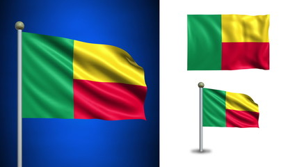 Benin flag - with Alpha channel, seamless loop!