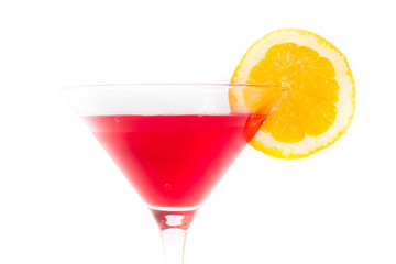 Red and yellow cocktail on white background