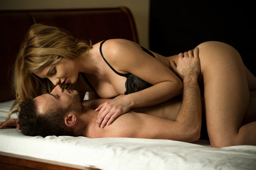 Couple having erotic moments