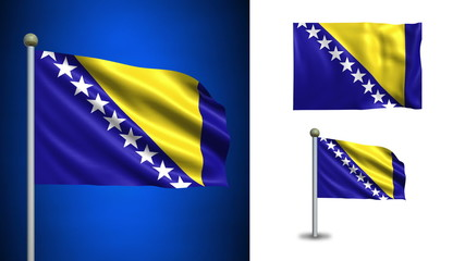 Bosnia and Herzegovina flag - with Alpha channel, seamless loop!