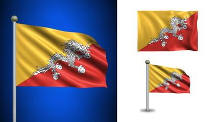 Bhutan flag - with Alpha channel, seamless loop!