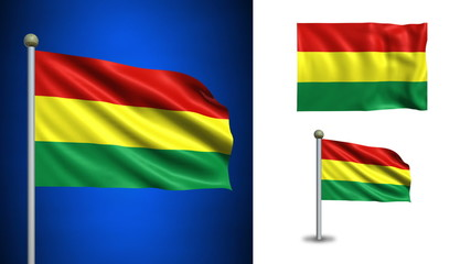 Bolivia flag - with Alpha channel, seamless loop!