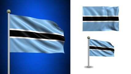 Botswana flag - with Alpha channel, seamless loop!
