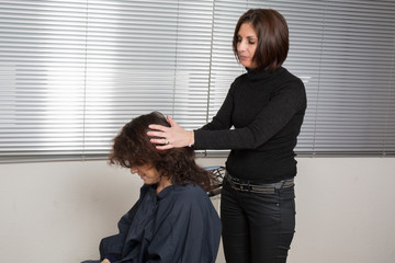 Hairstyling with hairdresser