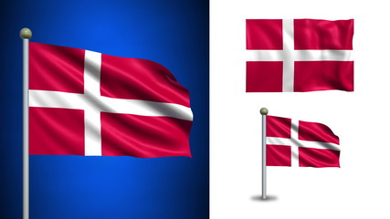 Denmark flag - with Alpha channel, seamless loop!