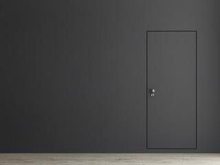 Minimalism door concept, 3d illustration