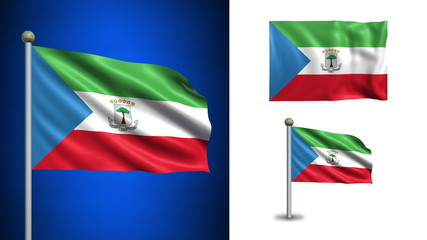 Equatorial guinea flag - with Alpha channel, seamless loop!