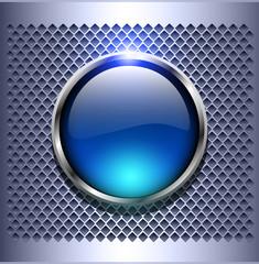 Shiny button blue glossy metallic