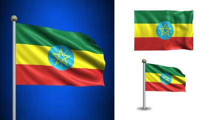 Ethiophia flag - with Alpha channel, seamless loop!
