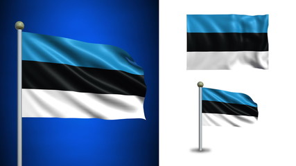 Estonia flag - with Alpha channel, seamless loop!