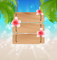 Hanging wooden guidepost with exotic flowers frangipani and palm