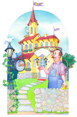 Watercolor picture. Fairytale castle mansion watchmaker