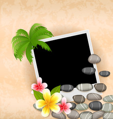 Exotic natural background with empty photo frame, palm tree, flo