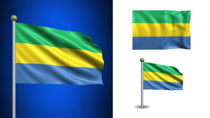 Gabon flag - with Alpha channel, seamless loop!