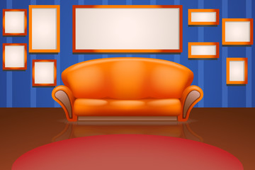 sofa on wall with frames