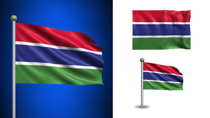 Gambia flag - with Alpha channel, seamless loop!