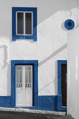 blue architectural details of a typical house in Ericeira Portug