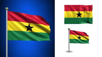 Ghana flag - with Alpha channel, seamless loop!