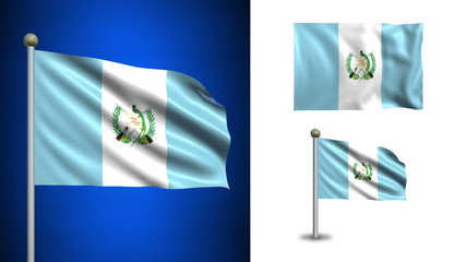 Guatemala flag - with Alpha channel, seamless loop!