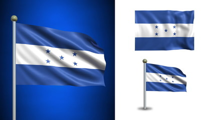 Honduras flag - with Alpha channel, seamless loop!