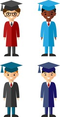 Set of students different nationalities in graduation gown