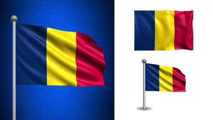 Chad flag - with Alpha channel, seamless loop!