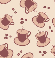 Seamless pattern with coffee cups and beans