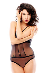 Sensual brunette with black lingerie