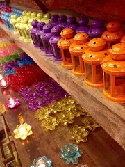 The color lamps on the table