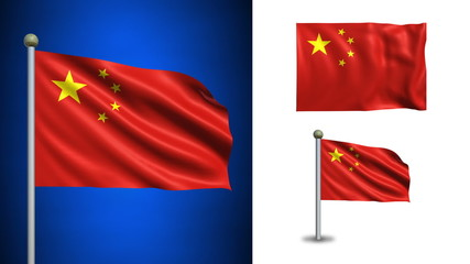 China flag - with Alpha channel, seamless loop!