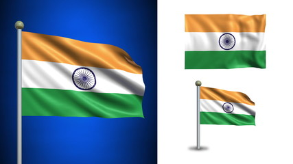 India flag - with Alpha channel, seamless loop!
